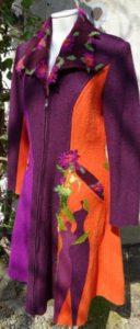 Walkstoff Mantel A-Linie Orange Beere sieben Frauen Seelenkleidung Inkrustation Spatenkragen