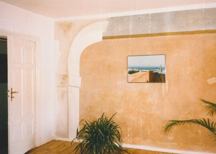 Ethnostil Wandfries Altbauwohnung Berlin Fries Malerei vintage auf Alt Wischtechnik auf Putz Wandgestaltung (4)