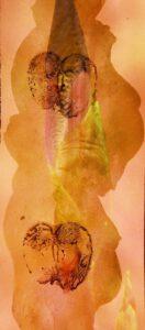 Nr.1 Foto Diaprojektion bedrucktes Chinapapier Irisknospe Schwangerschaft Apfel Fruchtbarkeit Symbol Mutterschaft Schoß Kunst