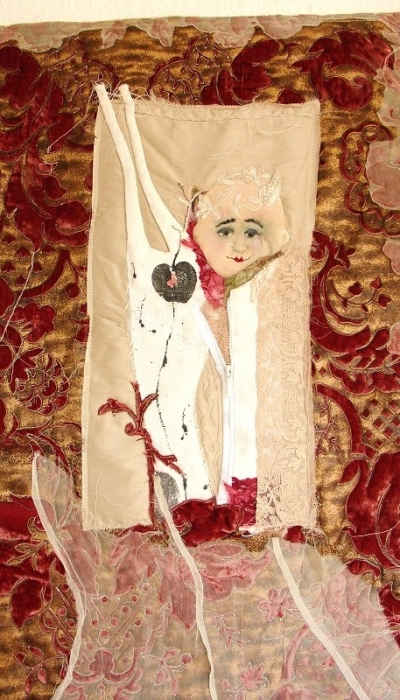 Textiles Bild quilten Organza alte Stoffe Textildruck Kunst in Stoff Neubeginn Organza romantisch (2)