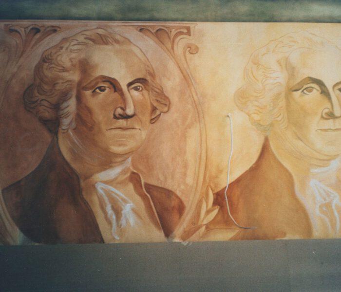 Wandmalerei Dollarschein Washington Kneipe Innenausstattung Berlin Wand (2)