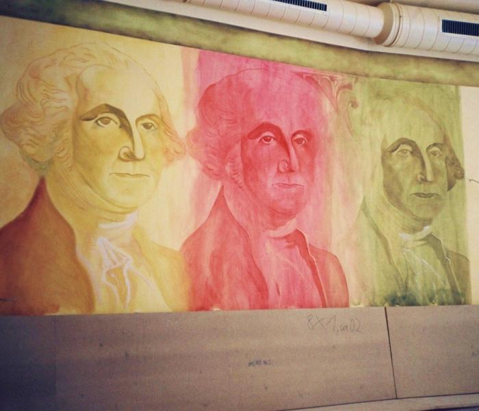 Wandmalerei Dollarschein Washington Kneipe Innenausstattung Berlin Wand (3)