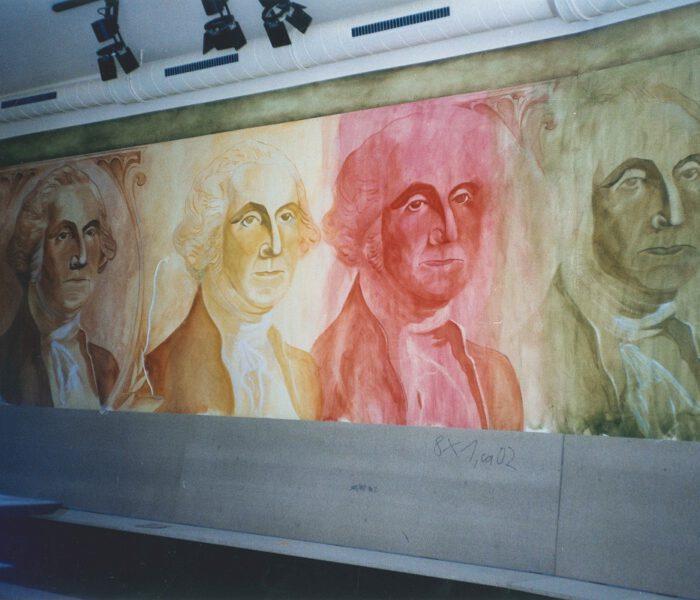 Wandmalerei Dollarschein Washington Kneipe Innenausstattung Berlin Wand