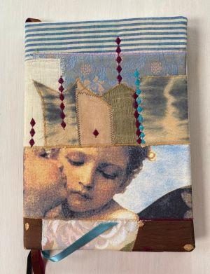 Buchhülle, Notizbuch, textile Collage, DinA4 Notebookcover, Notes, Notizbuchhülle, Tagebucheinband, Tagebuch, Kalenderhülle,Planer Abdeckung, Geschenk (12)