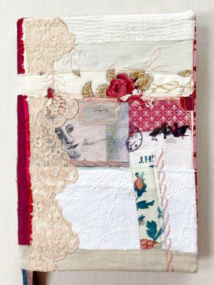 Buchhülle, Notizbuch, textile Collage, DinA4 Notebookcover, Notes, Notizbuchhülle, Tagebucheinband, Tagebuch, Kalenderhülle,Planer Abdeckung, Geschenk (4)